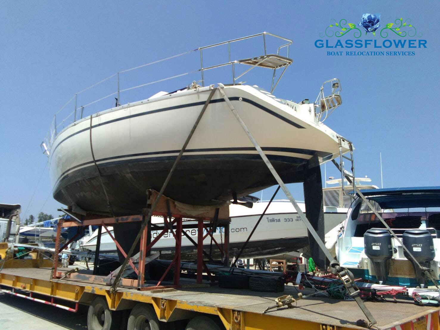 boat relocation glassflower thailand large keel boat