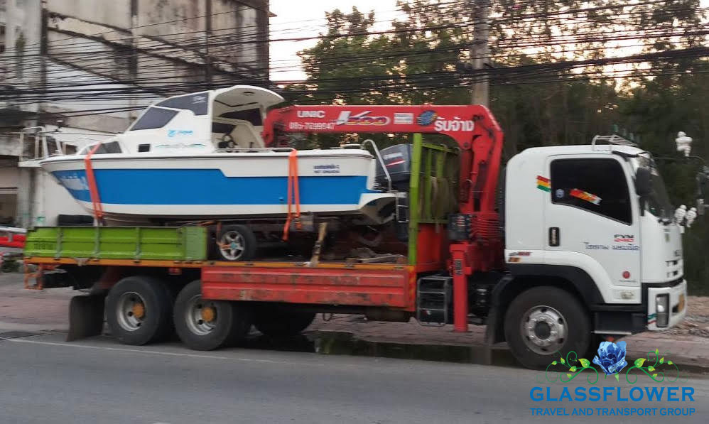 boat relocation services and transport in pattaya thailand with glassflower